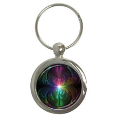 Anodized Rainbow Eyes And Metallic Fractal Flares Key Chains (round)  by jayaprime