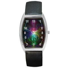 Anodized Rainbow Eyes And Metallic Fractal Flares Barrel Style Metal Watch by jayaprime