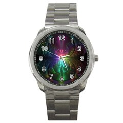 Anodized Rainbow Eyes And Metallic Fractal Flares Sport Metal Watch