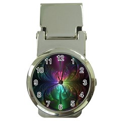 Anodized Rainbow Eyes And Metallic Fractal Flares Money Clip Watches by jayaprime