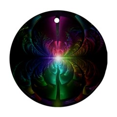 Anodized Rainbow Eyes And Metallic Fractal Flares Round Ornament (two Sides) by jayaprime