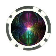 Anodized Rainbow Eyes And Metallic Fractal Flares Poker Chip Card Guard (10 Pack) by jayaprime