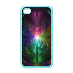 Anodized Rainbow Eyes And Metallic Fractal Flares Apple Iphone 4 Case (color)