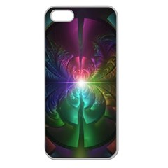 Anodized Rainbow Eyes And Metallic Fractal Flares Apple Seamless Iphone 5 Case (clear) by jayaprime