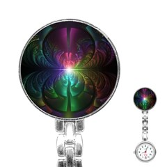 Anodized Rainbow Eyes And Metallic Fractal Flares Stainless Steel Nurses Watch