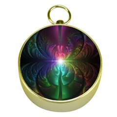 Anodized Rainbow Eyes And Metallic Fractal Flares Gold Compasses