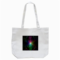 Anodized Rainbow Eyes And Metallic Fractal Flares Tote Bag (white) by jayaprime