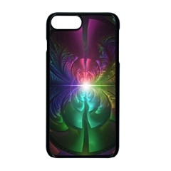 Anodized Rainbow Eyes And Metallic Fractal Flares Apple Iphone 7 Plus Seamless Case (black)