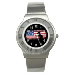 Honor Our Heroes On Memorial Day Stainless Steel Watch by Catifornia
