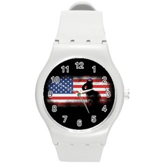 Honor Our Heroes On Memorial Day Round Plastic Sport Watch (m) by Catifornia