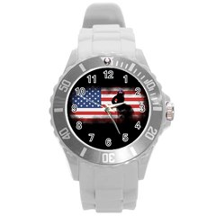Honor Our Heroes On Memorial Day Round Plastic Sport Watch (l) by Catifornia