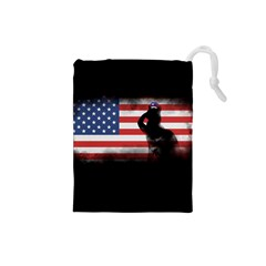 Honor Our Heroes On Memorial Day Drawstring Pouches (small)  by Catifornia