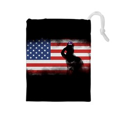 Honor Our Heroes On Memorial Day Drawstring Pouches (large)  by Catifornia