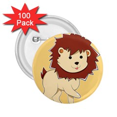 Happy Cartoon Baby Lion 2 25  Buttons (100 Pack)  by Catifornia