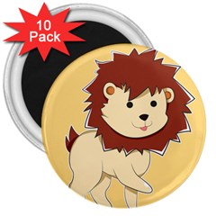 Happy Cartoon Baby Lion 3  Magnets (10 Pack)  by Catifornia