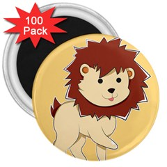 Happy Cartoon Baby Lion 3  Magnets (100 Pack) by Catifornia