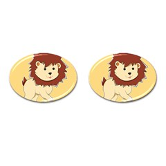 Happy Cartoon Baby Lion Cufflinks (oval) by Catifornia
