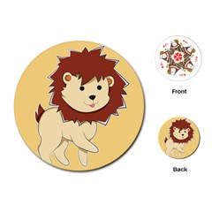 Happy Cartoon Baby Lion Playing Cards (round)  by Catifornia
