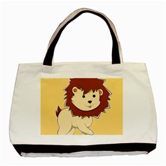 Happy Cartoon Baby Lion Basic Tote Bag by Catifornia