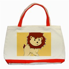Happy Cartoon Baby Lion Classic Tote Bag (red)