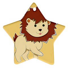 Happy Cartoon Baby Lion Star Ornament (two Sides) by Catifornia