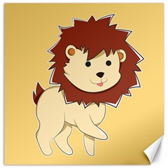 Happy Cartoon Baby Lion Canvas 12  X 12   by Catifornia