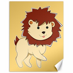 Happy Cartoon Baby Lion Canvas 18  X 24   by Catifornia