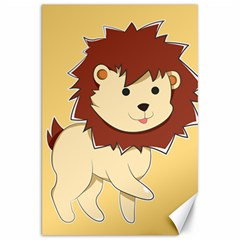 Happy Cartoon Baby Lion Canvas 20  X 30   by Catifornia
