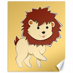 Happy Cartoon Baby Lion Canvas 11  X 14   by Catifornia