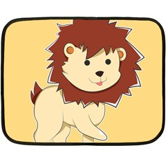 Happy Cartoon Baby Lion Double Sided Fleece Blanket (mini)  by Catifornia