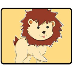 Happy Cartoon Baby Lion Fleece Blanket (medium)  by Catifornia