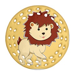 Happy Cartoon Baby Lion Ornament (round Filigree) by Catifornia