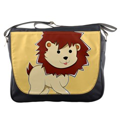 Happy Cartoon Baby Lion Messenger Bags by Catifornia