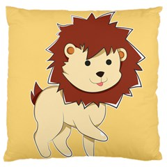 Happy Cartoon Baby Lion Large Cushion Case (two Sides) by Catifornia