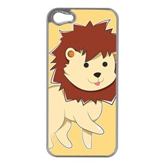 Happy Cartoon Baby Lion Apple Iphone 5 Case (silver) by Catifornia