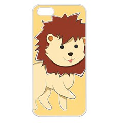 Happy Cartoon Baby Lion Apple Iphone 5 Seamless Case (white) by Catifornia
