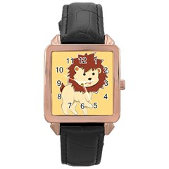 Happy Cartoon Baby Lion Rose Gold Leather Watch  by Catifornia