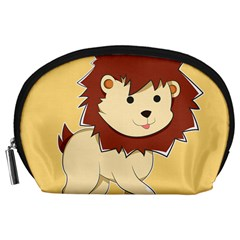 Happy Cartoon Baby Lion Accessory Pouches (large)  by Catifornia