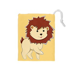 Happy Cartoon Baby Lion Drawstring Pouches (medium)  by Catifornia