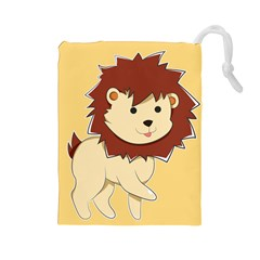 Happy Cartoon Baby Lion Drawstring Pouches (large)  by Catifornia