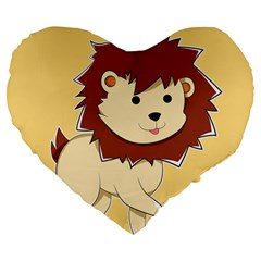 Happy Cartoon Baby Lion Large 19  Premium Flano Heart Shape Cushions