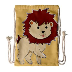 Happy Cartoon Baby Lion Drawstring Bag (large) by Catifornia