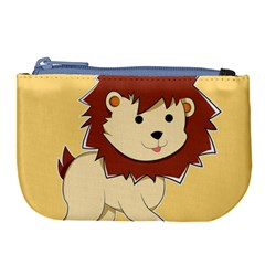 Happy Cartoon Baby Lion Large Coin Purse by Catifornia