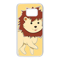 Happy Cartoon Baby Lion Samsung Galaxy S7 White Seamless Case by Catifornia