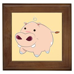 Happy Cartoon Baby Hippo Framed Tiles by Catifornia