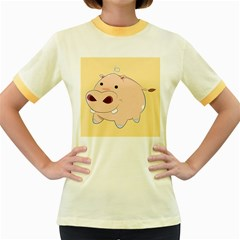 Happy Cartoon Baby Hippo Women s Fitted Ringer T-shirts by Catifornia