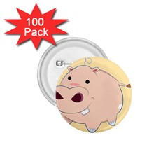 Happy Cartoon Baby Hippo 1 75  Buttons (100 Pack)  by Catifornia
