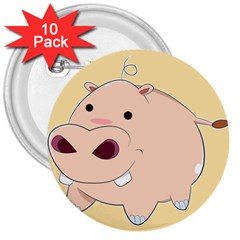 Happy Cartoon Baby Hippo 3  Buttons (10 Pack)  by Catifornia