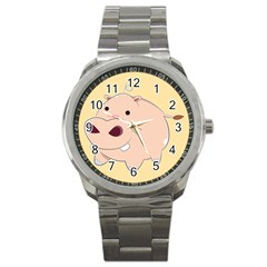 Happy Cartoon Baby Hippo Sport Metal Watch by Catifornia