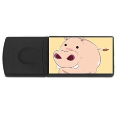 Happy Cartoon Baby Hippo Usb Flash Drive Rectangular (4 Gb) by Catifornia